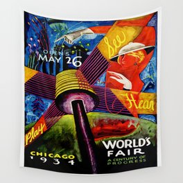 Retro 1934 Chicago World's Fair Travel Poster Wall Tapestry