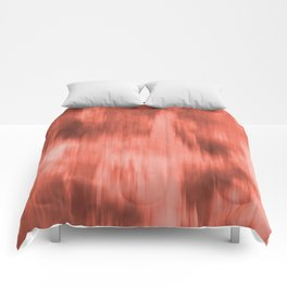 Pantone Living Coral Fusion Abstract Watercolor Blend Comforters