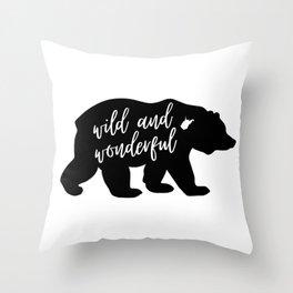 Wild And Wonderful Black Bear Design Throw Pillow