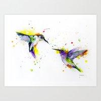 hummingbird Art Prints featuring Hummingbird  by Slaveika Aladjova