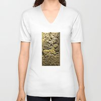 budapest V-neck T-shirts featuring budapest ceramic by tony tudor
