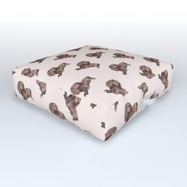 Dog Pattern 2 on Girly Pink Outdoor Floor Cushion
