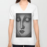 madonna V-neck T-shirts featuring The Madonna by Sarah Mary Street