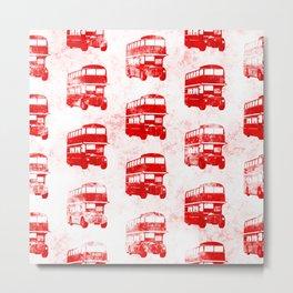 Grunge London Bus Pattern Metal Print