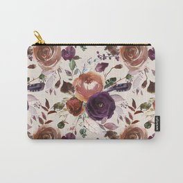 Bohemian orange violet brown watercolor floral pattern Carry-All Pouch