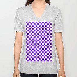 White and Indigo Violet Checkerboard Unisex V-Neck