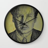 mulder Wall Clocks featuring Mulder  by Jenn