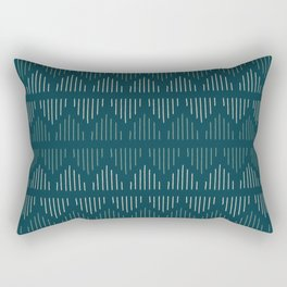 Minimalist Mudcloth 3 in Cream and Olive on Teal Rectangular Pillow