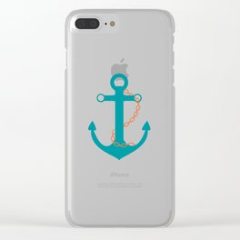 AFE Nautical Teal Ship Anchor Clear iPhone Case