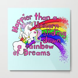 Happy Unicorn Metal Print