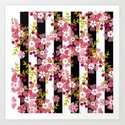 Floral pattern black and white striped background by fuzzyfox85