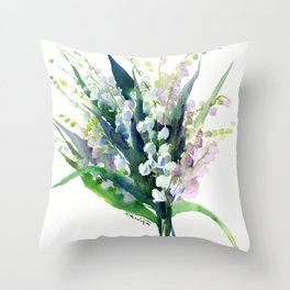 Lilies of the Valley, spring floral design flowers sring design wood flowers Throw Pillow