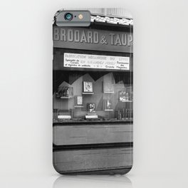 Brodard & Taupin Paris Lost Generation Bookstore, Printer, & Bookbinder storefront black and white photography - photographs wall decor iPhone Case