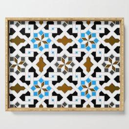 Oriental Pattern - Geometric Design, blue / brown Serving Tray