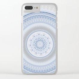 Elegant Blue Silver China Inspired Mandala Clear iPhone Case