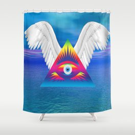 Third Eye with Wings Shower Curtain