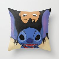 lilo and stitch Throw Pillows featuring Lilo & Stitch by Ashleigh Jane