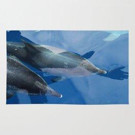 Dolphins and human shadows Rug