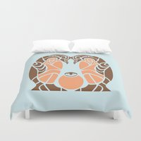penguins Duvet Covers featuring Penguins by Hinterlund