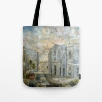 the smiths Tote Bags featuring Smiths Row Gallery 2011 November  by ray sinclair
