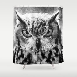 owl look digital painting orcbw Shower Curtain