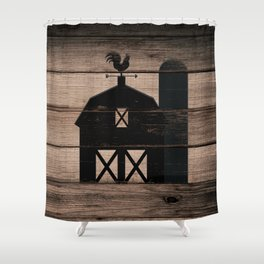 Black Rustic Barn & Rooster Shower Curtain