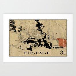 Vintage Steam Train on Postage Stamp Art Print
