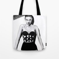 vogue Tote Bags featuring Vogue  by Tania Santos