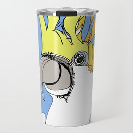 Yellow Crested Cockatoo in blue Travel Mug