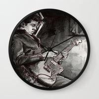 alex turner Wall Clocks featuring Alex Turner   by vooce & kat