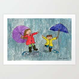 Puddle Jumping Kids Art Print