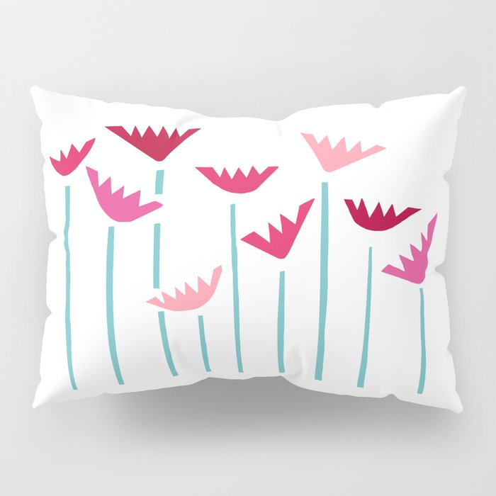 Teal and Pink Tropical Plants Collage Pillow Sham