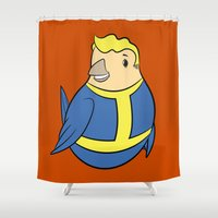 fallout Shower Curtains featuring Fallout Vault Boy Birble by Birbles