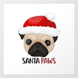 Christmas Pug | Santa Paws Art Print
