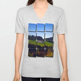 A farm, blue sky and some panorama   landscape photography Unisex V-Neck