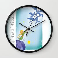 le petit prince Wall Clocks featuring Le Petit Prince by karicola
