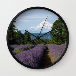 Lavender Fields & Mountain Views Wall Clock