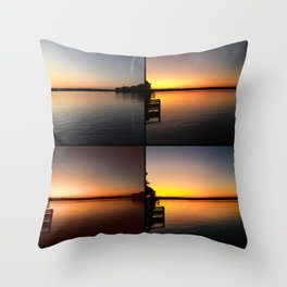 Lake Talquin- Talahassee FL Sunset Collage Throw Pillow