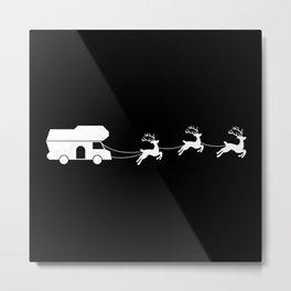 Santa Sleigh Motorhome Christmas Gift Metal Print