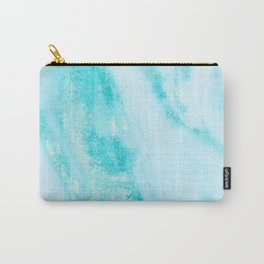 Shimmery Teal Ocean Blue Turquoise Marble Metallic Carry-All Pouch