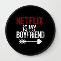 netflix Wall Clocks featuring Netflix is my Boyfriend Vintage Cupid Black Print by RexLambo