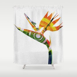 Bird of Paradise Surreal Floral Meditation Shower Curtain