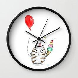 Cat - birthday cat- with ice cream and balloon Wall Clock