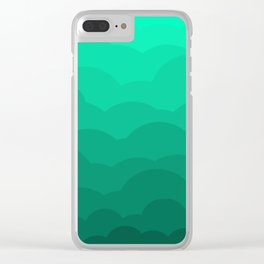 Sage Ombre Clouds Clear iPhone Case