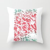 ponyo Throw Pillows featuring Ponyo by drawnbyhanna