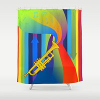 trumpet Shower Curtains featuring Rainbow Trumpet by Nathalie Lawhead