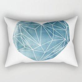 Heart Graphic Watercolor Blue Rectangular Pillow