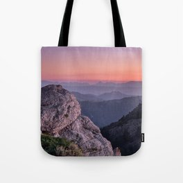 Misty Mountains At Sunset. Sierra Nevada Tote Bag