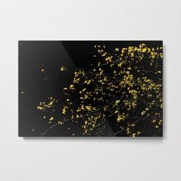 Butter Yellow Palo Brea Flowers on Black Metal Print