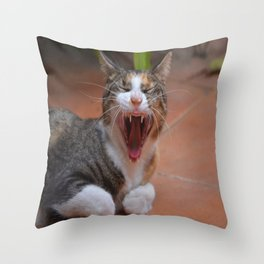 Liza the cat with a big smile Throw Pillow